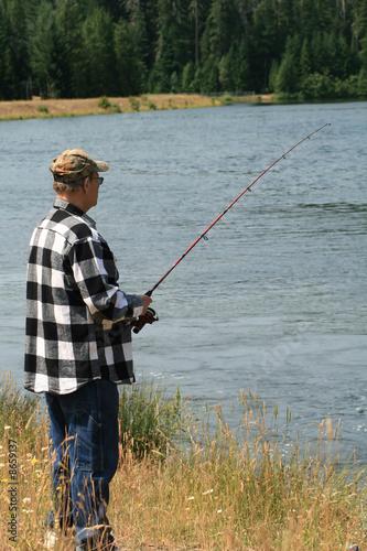 Fotobehang Vissen Man Fishing