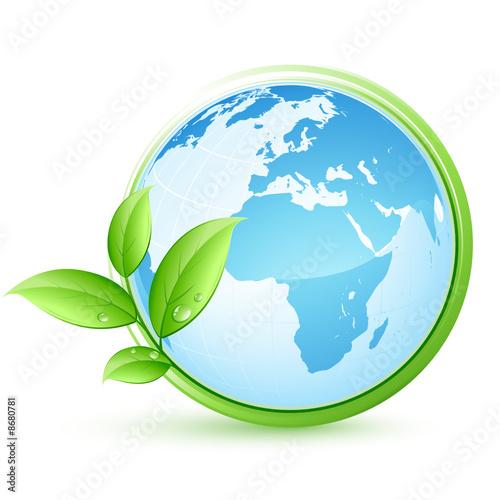 planète terre bleue et feuilles #8680781