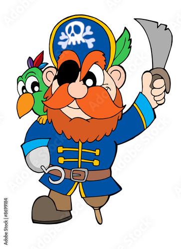 Ingelijste posters Piraten Pirate with sabre and parrot