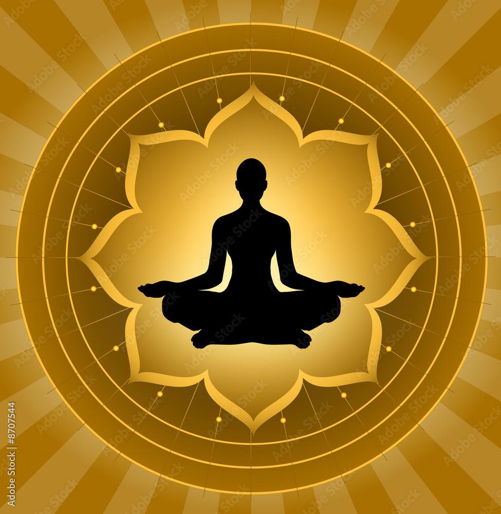 Fototapety, obrazy: Joga - medytacja na tle lotosu