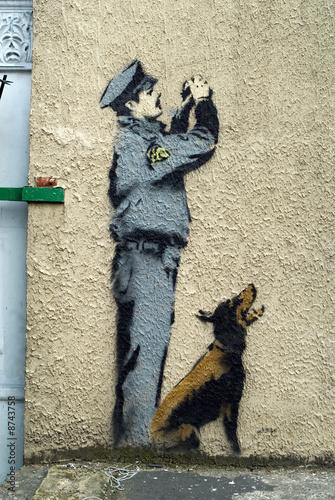 Bansky Graffiti Detail Wallpaper Mural