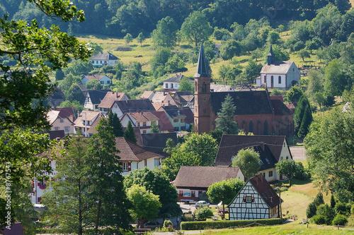 Papiers peints Bleu nuit village Alsacien