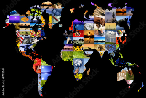 Fotobehang Wereldkaart Collage of photographer's color photographs set over world map.