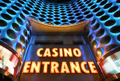 Poster Las Vegas Casino entrance sign in lights at the Las Vegas Strip