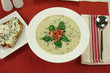 Creamy spinach soup with crispy bacon and blue cheese toast.