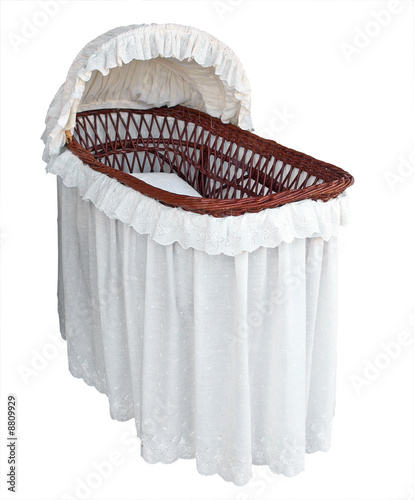 Covered Cane Bassinet Isolated with clipping path Canvas Print