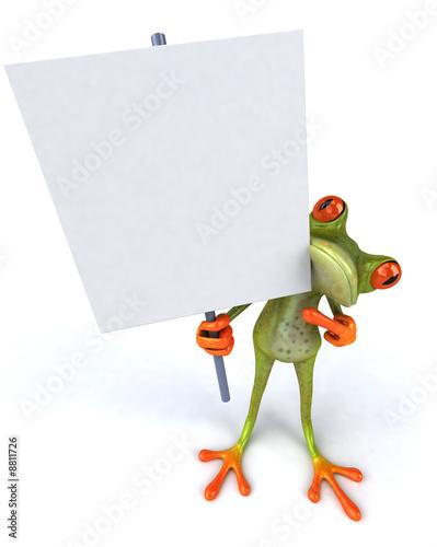 Grenouille avec un panneau blanc Canvas Print