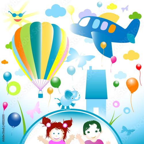 Papiers peints Avion, ballon happy world, abstract design for kids