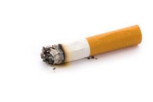 A Cigarette Butt With White Ba...