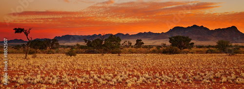 La pose en embrasure Brique Colorful sunset in Kalahari Desert, Namibia