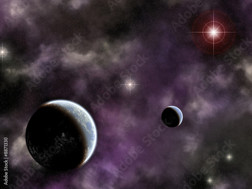 space scene with planets and smoky wispy nebula #8871330
