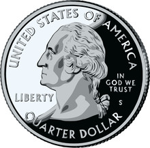 Isolated United States Quarter - Vector Illustration