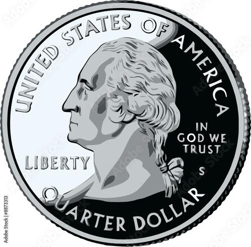 Fototapeta isolated United States Quarter - vector illustration obraz