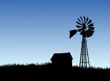 Farm House And Windmill Silhou...