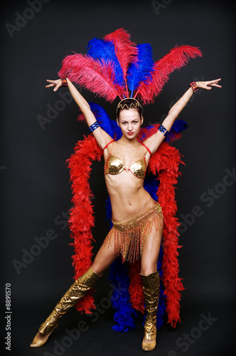 Fotografie, Obraz  cabaret dancer over dark background