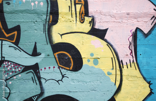 Inner city background with colorful graffiti