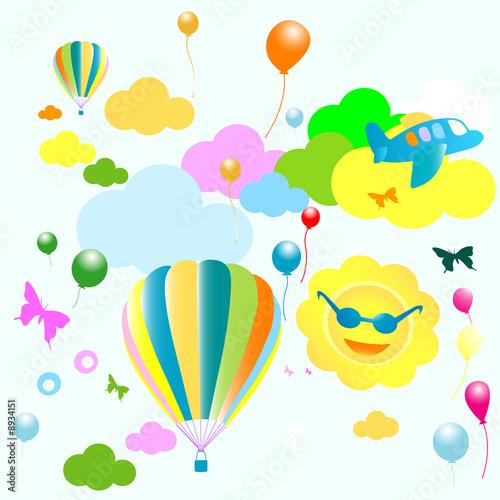 Papiers peints Avion, ballon seamless toys pattern, funny background for kids