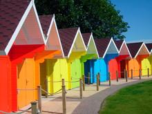 Exteriors Of Beautiful Bright Seaside Beach Chalets