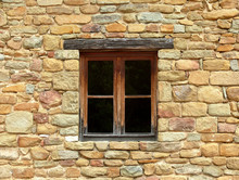 Window Of Stone Home In Small Town In Italy