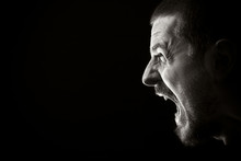 Face Of Screaming Angry Man On...