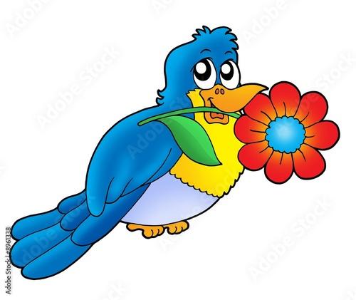 Poster Oiseaux, Abeilles Blue bird with flower