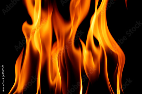 Photo Stands Fire / Flame fire on black close up abstract background