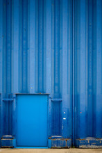 Hangar Tole Porte Stockage Bleu Construction Quai Usine