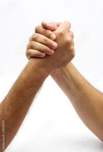 Fotografie, Obraz  two hands in fight background