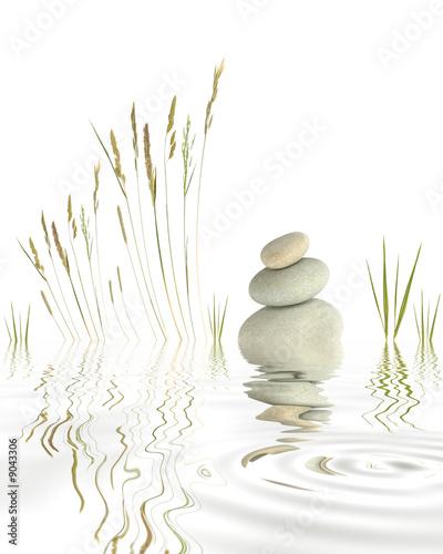 Fototapety, obrazy: Zen Pebbles Grasses and Bamboo