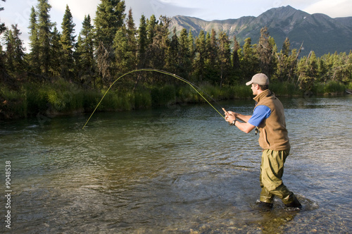 Tuinposter Vissen Salmon Fishing in Alaska