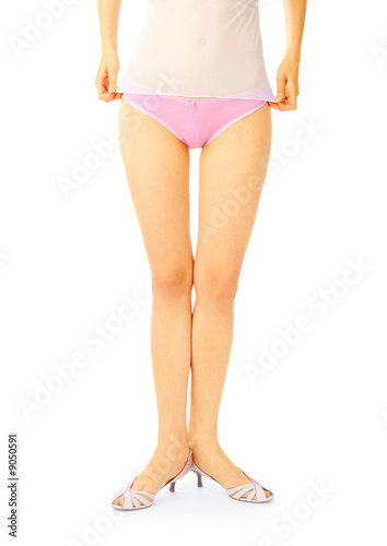 7fb32bf40ee2 Pretty young girl in pink panties over white - Buy this stock photo ...