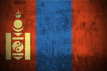 Weathered Flag Of Mongolia, Fabric Textured..