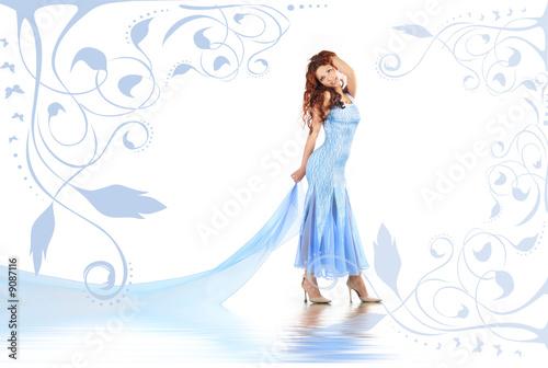 curly-headed girl on floral blue background Tapéta, Fotótapéta