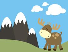 Ciervo En Paisaje Montañoso
