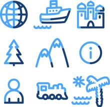 Travel Icons, Blue Contour Series