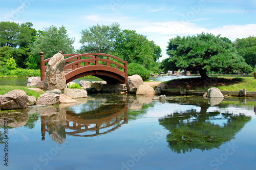 Japanese bridge, Osaka Garden located in Jackson Park, Chicago - Buy ...