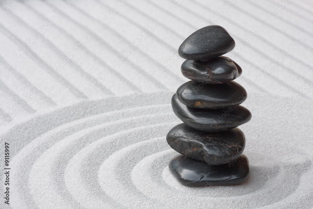 Doppelrollo mit Motiv - Steine auf Sand (Zen)