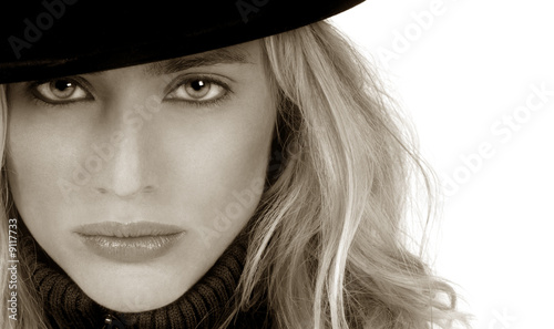 Beautiful Blond woman with bowler hat on white - Buy this stock ... f36d9b97c874