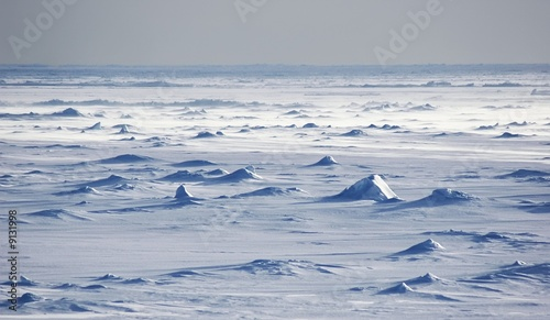Photo Stands Antarctic Endless Antarctic snowfields beyond horizons