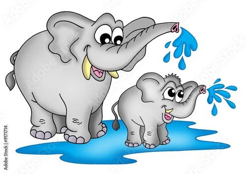 Staande foto Dolfijnen Two elephants standing