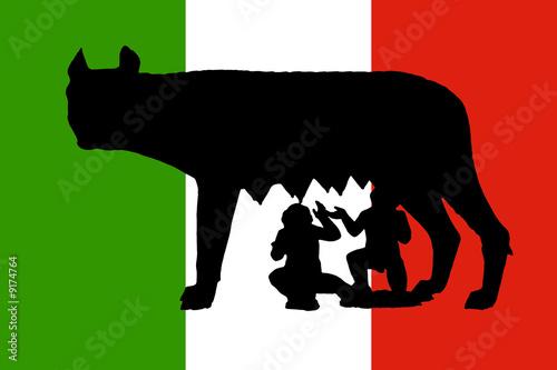 Fényképezés  drapeau italien avec la louve romaine