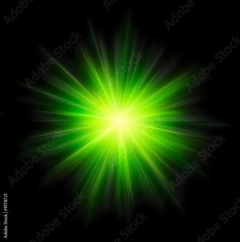 Obraz Star burst green on black background - fototapety do salonu