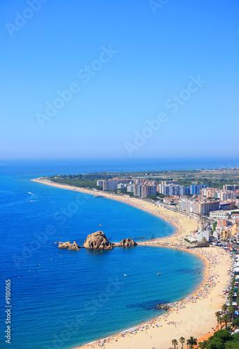 Fényképezés Blanes beach and Sa Palomera rock (Costa Brava, Spain)