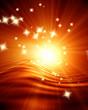 Leinwandbild Motiv Glowing sunset with some sparkles in it