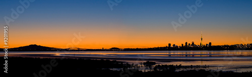 Poster Nouvelle Zélande Auckland City Panorama at Sunrise