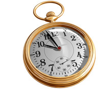 Isolated Illustration Of A Gold Pocket Watch