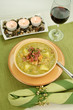 Chunky pea and ham soup with croutons and ham