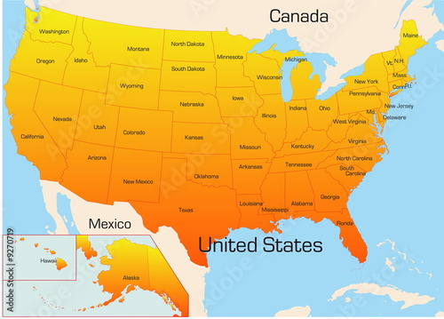 Abstract vector color map of USA country – kaufen Sie se ... on