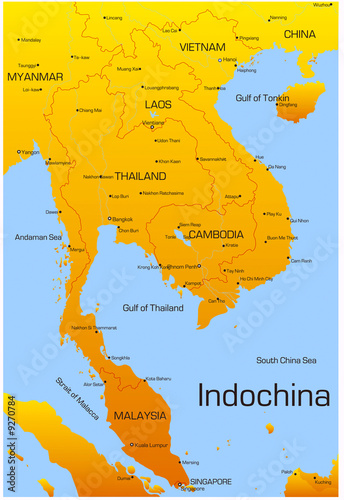 Foto  Vector map of Indochina countries