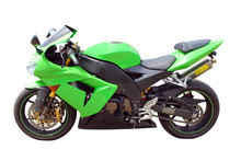 Green Fast Motorcycle Isolated